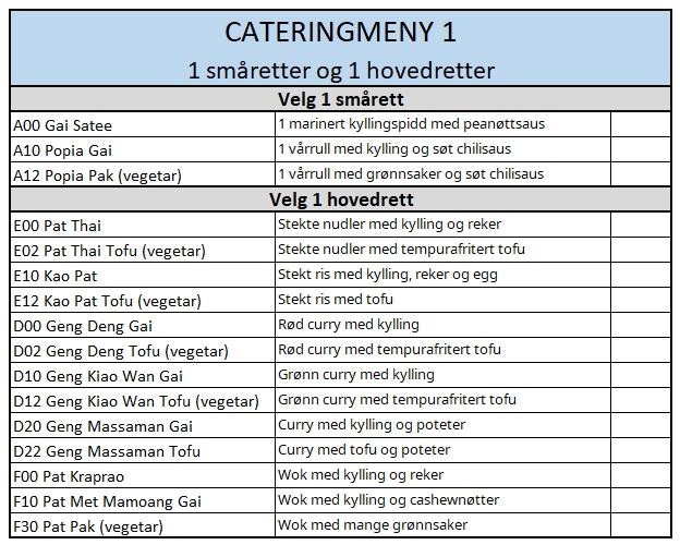 Catering meny 1