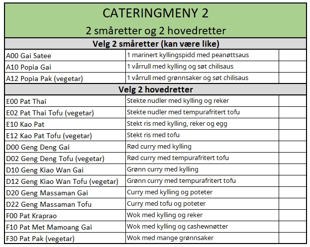 Catering meny 2