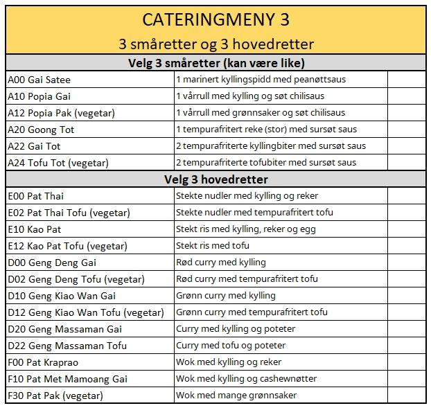 Catering meny 3
